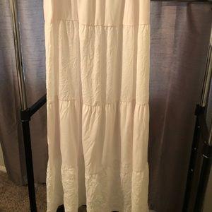 White, full maxi skirt